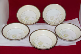 SEt of 5 Small bowls marked PRUSSIA w/ Griffin Gold Rims Pale Yellow Pin... - $18.34