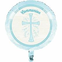 "Divinity Blue Cross Metallic Foil Mylar Balloon 18"" Communion - $6.52"