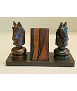 Mid Century Alii Woods Honolulu Teak Wood Carved Horse Head Desk Pen Holder - $29.65