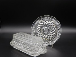 Vintage Depression Anchor Hocking Wexford Crystal Butter Dish And  Bread... - $40.00