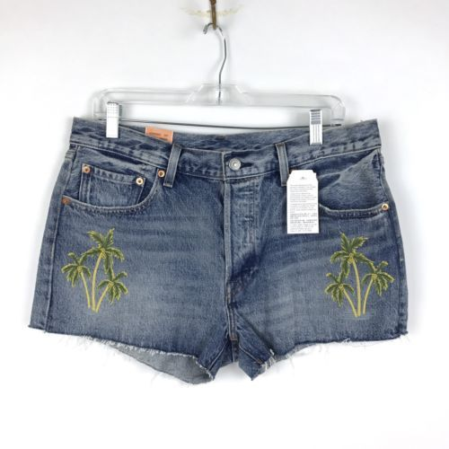 Levi's 501 Cut Off Denim Shorts Women's Sz Embroidered Palm Trees MSRP: $128 NEW