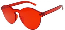 J and L Glasses Transparent Rimless Ultra-Bold Candy Color Sunglasses (Red, - $29.96