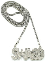SWAGG Necklace New Crystal Rhinestone Pendant with 36 Inch Franco Style Chain - $31.45