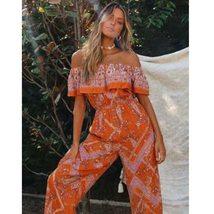 Women's Sexy Off Shoulder Tropical Orange Floral Print Wide Leg Jumpsuit