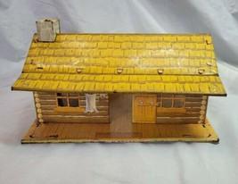 Vintage Marx Bar-M-Ranch Tin Litho Log Cabin Bunk House Open Back Toy 19... - $49.49