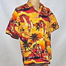 Royal Creations Hawaii Orange Woody Surfboard Hawaiian Sunset Aloha Shirt Large - $32.99
