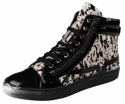 Versace Collection Black Pony Hair Patent Leather HI-Top Zip-Up Fashion Sneaker image 1