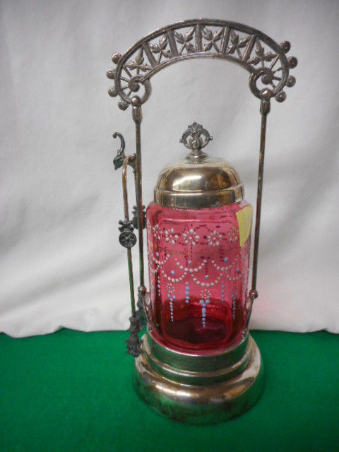 Antique Cranberry Glass Handpainted Victorian Pickle Castor with Tongs