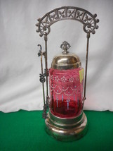 Antique Cranberry Glass Handpainted Victorian Pickle Castor with Tongs - $886.55