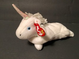 Ty Beanie Babies Plush Beanbag Mystic the Unicorn White Blue Eyes PVC - $15.98