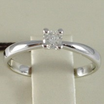 WHITE GOLD RING 750 18K, SOLITAIRE, STEM ROUNDED, DIAMOND CARAT 0.17 image 2