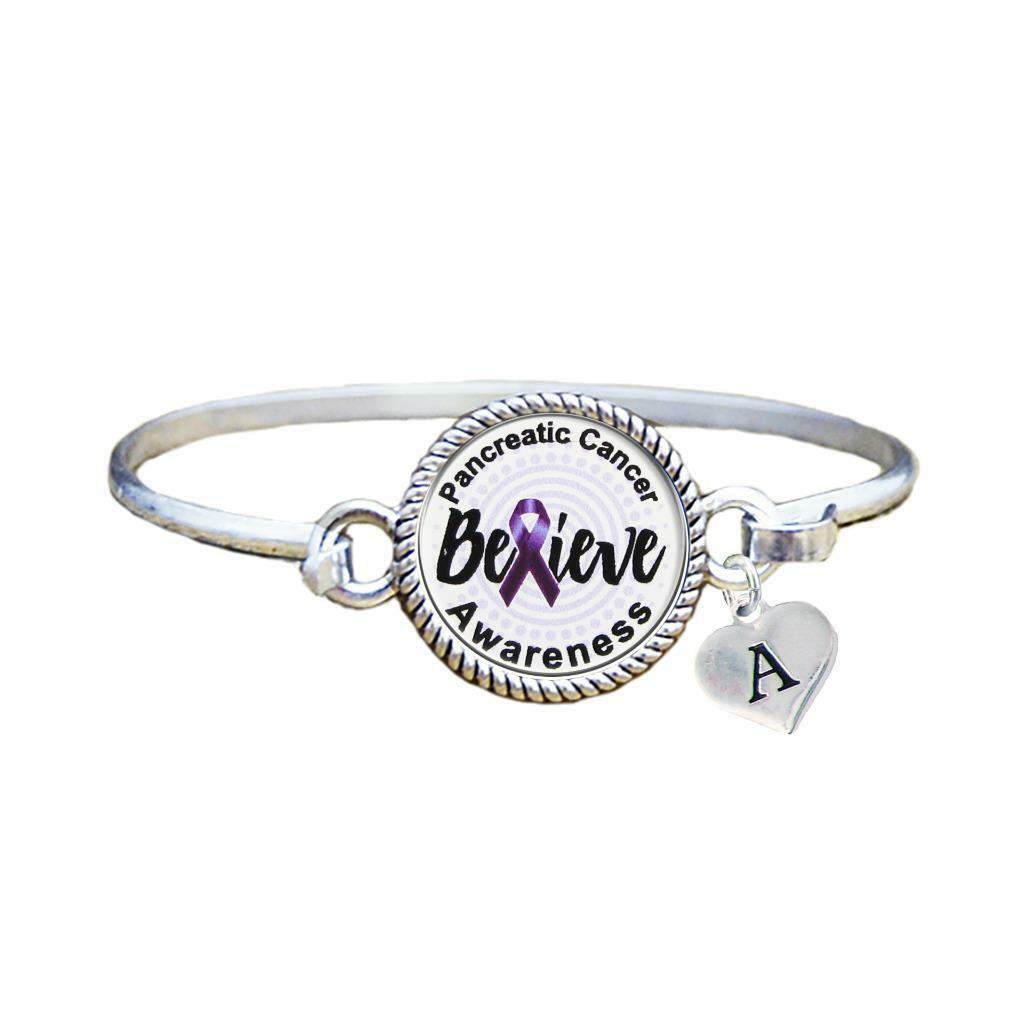 Primary image for Custom Pancreatic Cancer Awareness Believe Silver Bracelet Jewelry Initial