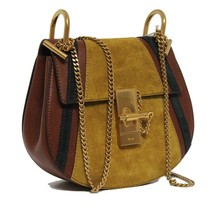 New $2050 Chloe Drew Mini Patchwork Calf Suede Leather Bag - $877.10