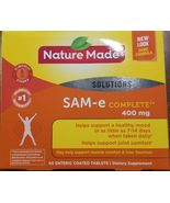 60 Tablets Nature Made SAM-e Complete 400mg Support Healthy Mood Joint &... - $24.99