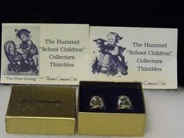"Vintage Hummel 2 Thimbles Gold West Germany School Children ""Goat Girl B... - $14.66"