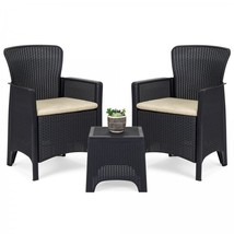 Outdoor Bistro Set Patio Chairs Rattan Coffee Table 3 Piece Deck Pool Fu... - €148,32 EUR