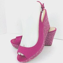 Franco Sarto Women Pink Canvas Slingback Open Toe Wedge Shoe SZ 8 M Rory Sandal - $39.59