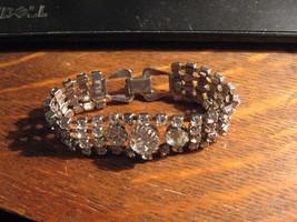 Rhinestone Bracelet - Vintage Silver Tone Metal Clear Diamond Cocktail B... - $39.59