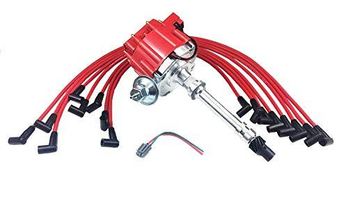 A-Team Performance HEI Distributor Red Cap and 8mm Spark Plug Wires Set Under Th