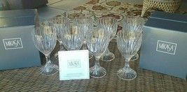 "8 Lot Mikasa Crystal Park Lane Wine Glasses Goblets 6 3/8"" New in Box - $136.50"