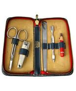 Vintage LeCross Manicure Set Leather Travel Manicure 1960s Gents Travel ... - $28.00