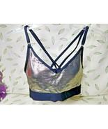 Victoria's Secret PINK Ultimate Lightly Lined Sports Bra Gold/Black Medium - $21.34