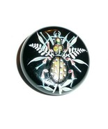 Wonderful Lg Black Czech Glass Hand Painted Bug Insect Glass Czech Butto... - $29.99