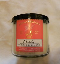 NEW BATH & BODY WORKS Clarity Peppermint Rosemary Aromatherapy 3-Wick Candle - $24.54