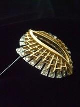 Vintage Brooch Pin w Clear Rhinestones Silver w Gold Tone Plated Metal 2... - $19.79