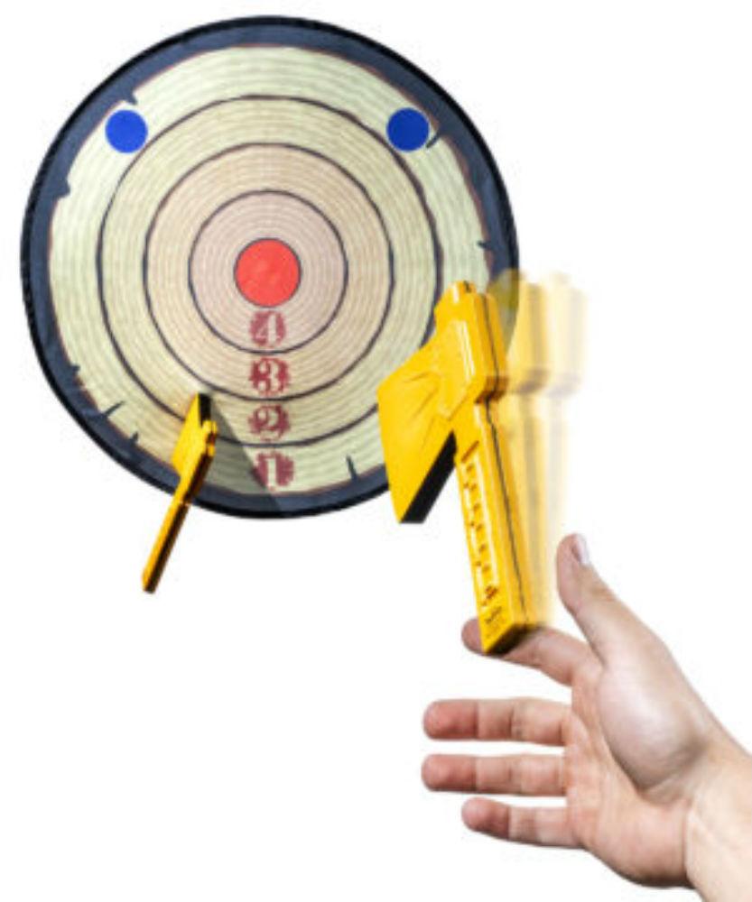 Foam axe throwing game toy version of the popular lumberjack game