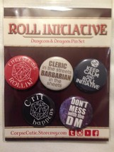 """Dungeons and Dragons Button Pin Set """"Roll Initiative"""" Corpse Cutie - $6.99"""
