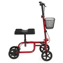 Foldable Knee Walker W/ Basket and Dual Brakes-Red - Color: Red - $138.09