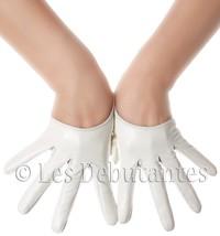 SEXY WHITE LEATHER SEMI PALM DESIGNER GLOVES LES DEBUTANTES - $14.99