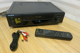 Sony SLV-660HF VCR 4 Head HIFI Stereo VHS Recorder Remote Cables Tested Working - $74.44