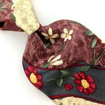 BILL BLASS SIGNATURE TIE FLORAL Brocade Silk Necktie Red Green Orchid I1... - $15.83