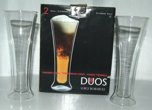 Luigi Bormioli DW0302 Duos Pilsner Glasses Set of 2 Thermo Wall Color Clear