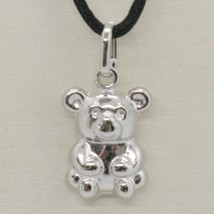 18K WHITE GOLD ROUNDED TEDDY BEAR PENDANT CHARM 22 MM SMOOTH & SATIN ITALY MADE image 1