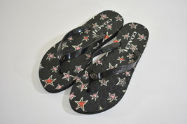 Women's COACH Black Dark Flip Flop Sandals Thong Abbigail Stars 6B - $18.80
