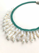 Opalite Waterfall Necklace, Turquoise Beaded Necklace, Woven Necklace, T... - $269.00