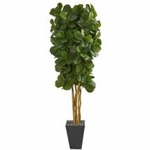 Luxury Multicolor  Fiddle Leaf Artificial Tree in Slate Planter - 7.5 Ft. - $531.11