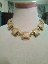 VINTAGE GOLDEN CHOKER NECKLACE SQUARES ENAMELLED IN CREAM W/ TOGGLE CLOSURE - $30.00