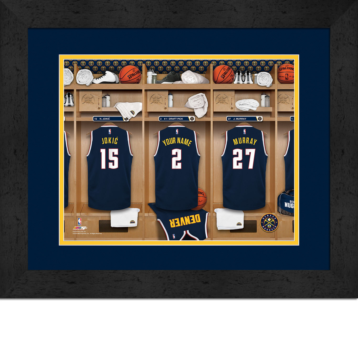 Primary image for Personalized Denver Nuggets 12 x 16 Locker Room Framed Print