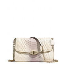 NWT Coach Pink Madison Crossbody Convertible Clutch/ Bag Python Embossed... - $350.00