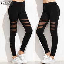 Summer ZANZEA Women Sexy Leggings Fashion High Waist Mesh Patchwork Skinny - $31.40