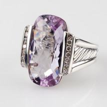 David Yurman Deco Sterling Silver Lavender Amethyst & Diamond Cable Ring Sz 6.5 - $641.52
