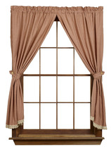 country primitive Ava Wine burgundy cream plaid Panel curtains 72x63 w lace trim - $59.95