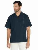 Men's Guayabera Short Sleeve Button Up Cuban Embroidered Navy Dress Shirt 4XL image 1