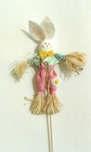 Easter Wooden Bunny Straw Scarecrow Figurines Decorations Ostern Home Decor - $8.42