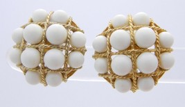 Vtg Castlecliff White Lucite Cabochon Gold Tone Braid Nautical Clip Earrings - $29.70