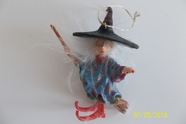Krinkles Halloween Mini Ornament Patience Brewster Dept. 56 Flying Witch - £19.36 GBP